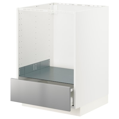 METOD / MAXIMERA Base cabinet for oven with drawer, white/Vårsta stainless steel, 60x60 cm