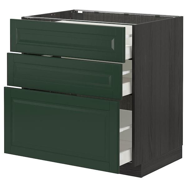 METOD / MAXIMERA Base cabinet with 3 drawers, black/Bodbyn dark green, 80x60 cm