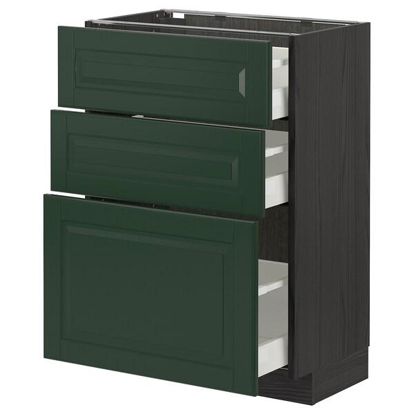 METOD / MAXIMERA Base cabinet with 3 drawers, black/Bodbyn dark green, 60x37 cm