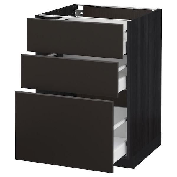METOD / MAXIMERA Base cabinet with 3 drawers, black/Kungsbacka anthracite, 60x60 cm