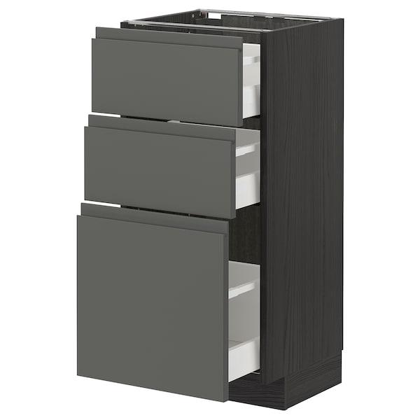 METOD / MAXIMERA Base cabinet with 3 drawers, black/Voxtorp dark grey, 40x37 cm