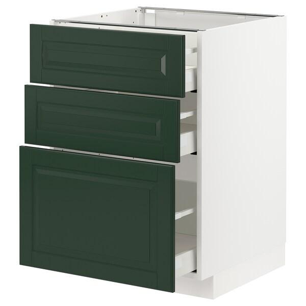 METOD / MAXIMERA Base cabinet with 3 drawers, white/Bodbyn dark green, 60x60 cm