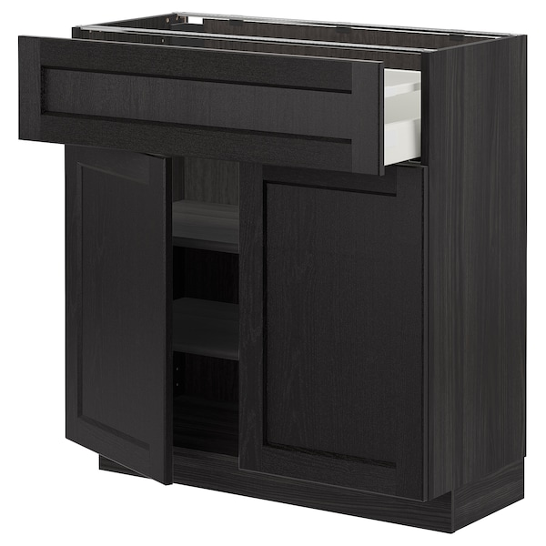 METOD / MAXIMERA Base cabinet with drawer/2 doors, black/Lerhyttan black stained, 80x37 cm