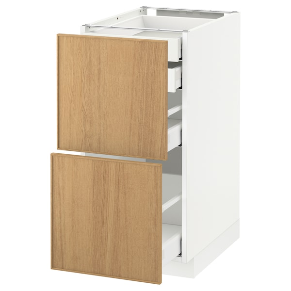 METOD / MAXIMERA base cb 2 frnts/2 low/1 md/1 hi drw white/Ekestad oak 40.0 cm 61.9 cm 88.0 cm 60.0 cm 80.0 cm