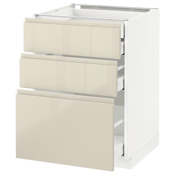 METOD / MAXIMERA base cb 3 frnts/2 low/1 md/1 hi drw white/Voxtorp high-gloss light beige 60.0 cm 62.1 cm 88.0 cm 60.0 cm 80.0 cm
