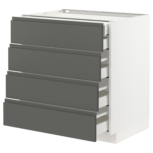 METOD / MAXIMERA base cb 4 frnts/2 low/3 md drwrs white/Voxtorp dark grey 80.0 cm 62.1 cm 88.0 cm 60.0 cm 80.0 cm