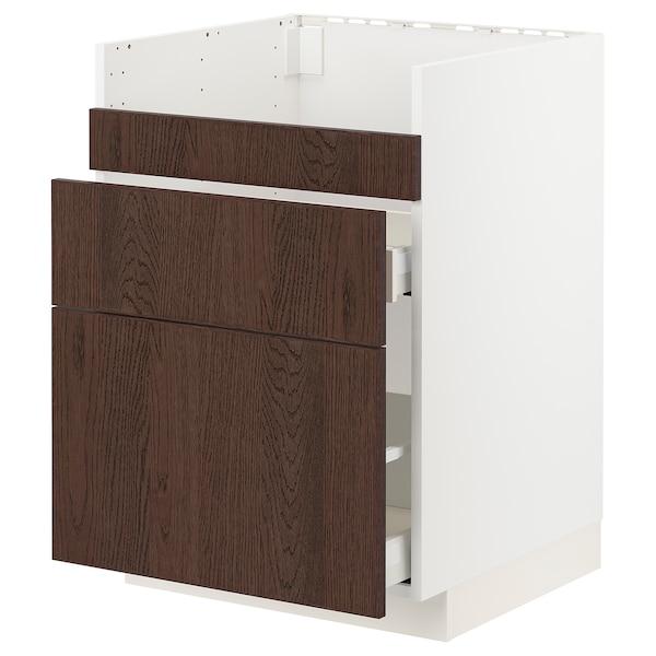 METOD / MAXIMERA Base cb f HAVSEN snk/3 frnts/2 drws, white/Sinarp brown, 60x60 cm