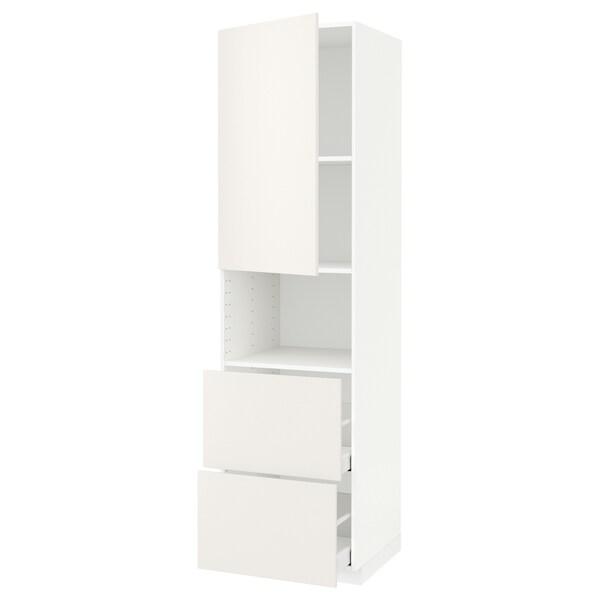 METOD / MAXIMERA hi cab f micro w door/2 drawers white/Veddinge white 60.0 cm 61.6 cm 228.0 cm 60.0 cm 220.0 cm
