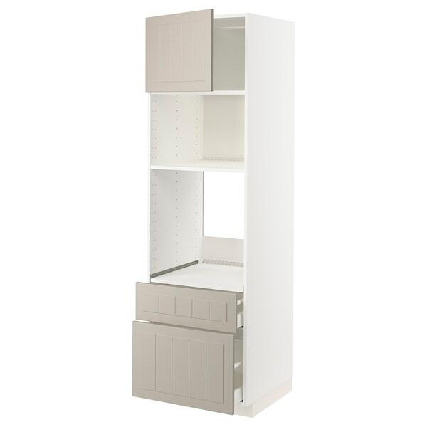 METOD / MAXIMERA High cab f oven/micro w dr/2 drwrs, white/Stensund beige, 60x60x200 cm