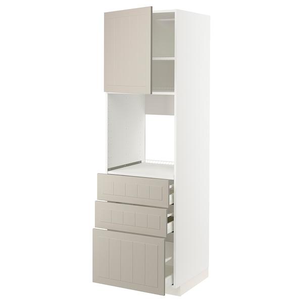 METOD / MAXIMERA High cab f oven w door/3 drawers, white/Stensund beige, 60x60x200 cm
