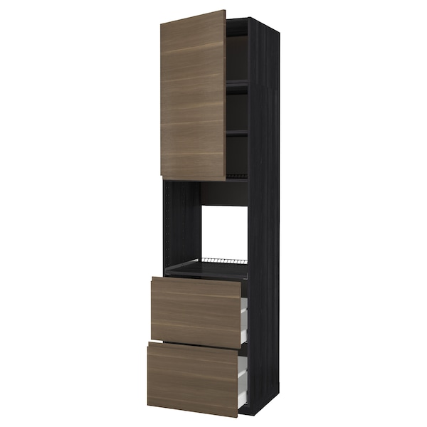 METOD / MAXIMERA High cabinet f oven+door/2 drawers, black/Voxtorp walnut effect, 60x60x240 cm