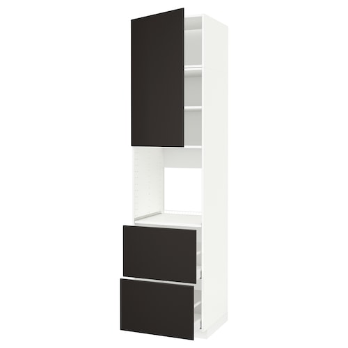 METOD / MAXIMERA high cabinet f oven+door/2 drawers white/Kungsbacka anthracite 60.0 cm 61.6 cm 248.0 cm 60.0 cm 240.0 cm