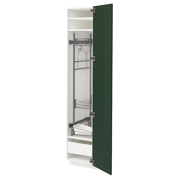 METOD / MAXIMERA High cabinet with cleaning interior, white/Bodbyn dark green, 40x60x200 cm