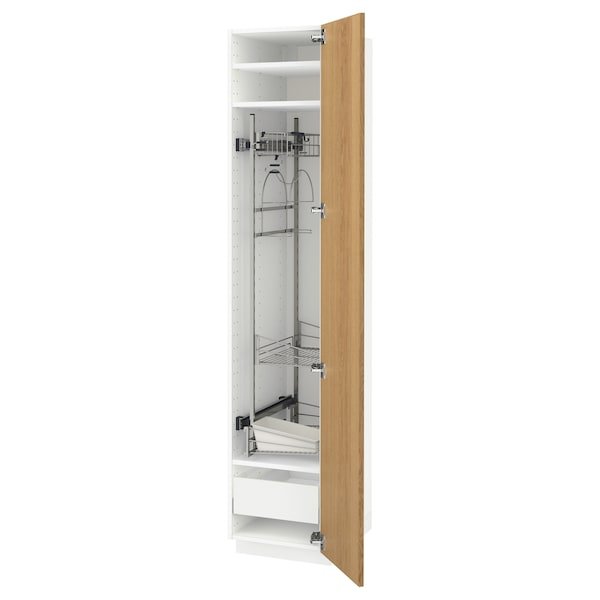 METOD / MAXIMERA High cabinet with cleaning interior, white/Ekestad oak, 40x60x200 cm