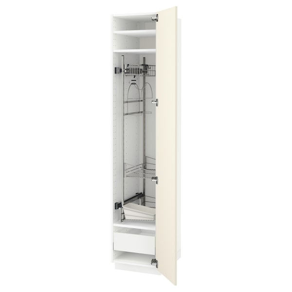 METOD / MAXIMERA High cabinet with cleaning interior, white/Hittarp off-white, 40x60x200 cm