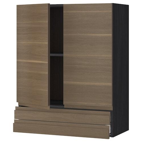 METOD / MAXIMERA wall cabinet w 2 doors/2 drawers black/Voxtorp walnut 80.0 cm 39.1 cm 100.0 cm