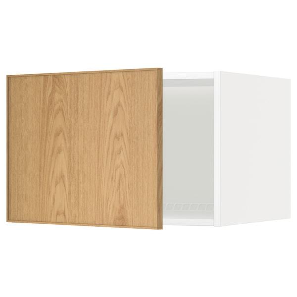METOD خزانة علوية لثلاجة/فريزر, أبيض/Ekestad سنديان, 60x40 سم