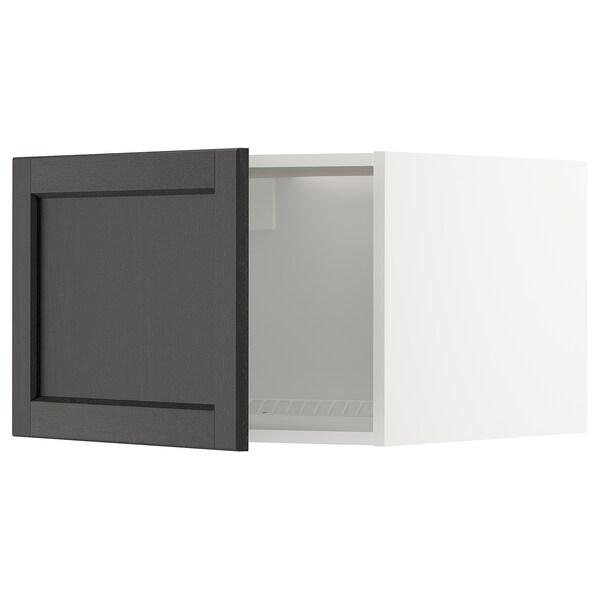 METOD خزانة علوية لثلاجة/فريزر, أبيض/Lerhyttan صباغ أسود, 60x40 سم