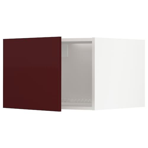 METOD top cabinet to fridge/freezer white Kallarp/high-gloss dark red-brown 60.0 cm 61.6 cm 40.0 cm