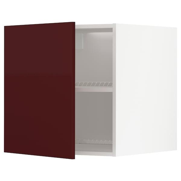 METOD خزانة عالية لبراد/مجمدة, أبيض Kallarp/لامع أحمر-بني غامق, 60x60 سم