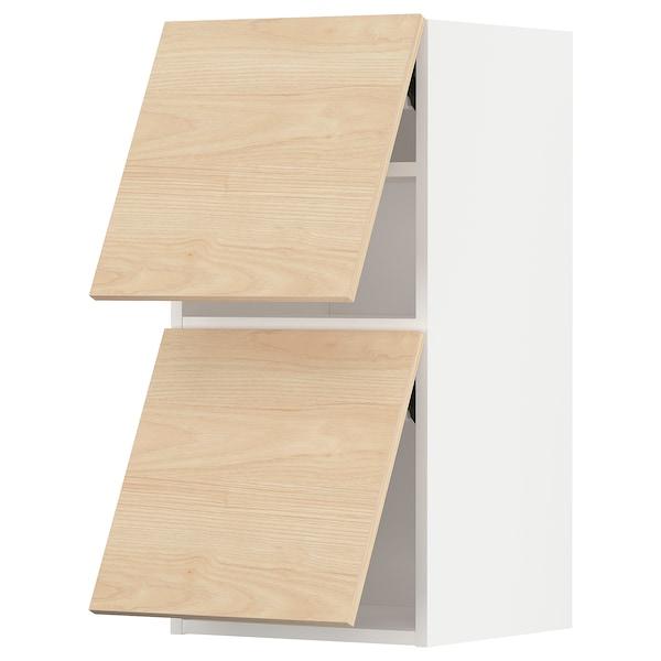 METOD خزانة حائط أفقية ٢ باب/فتح بالضغط, أبيض/Askersund مظهر دردار خفيف, 40x80 سم