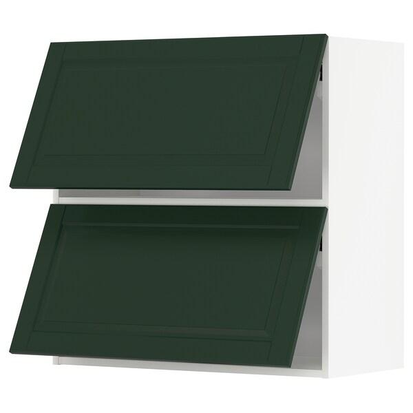 METOD Wall cab horizo 2 doors w push-open, white/Bodbyn dark green, 80x80 cm