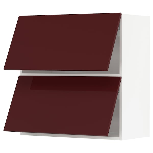 METOD Wall cab horizo 2 doors w push-open, white Kallarp/high-gloss dark red-brown, 80x80 cm