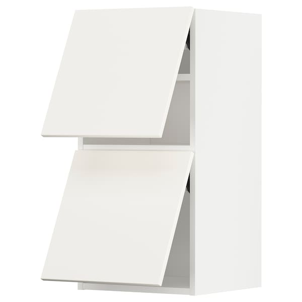 METOD خزانة حائط أفقية ٢ باب/فتح بالضغط, أبيض/Veddinge أبيض, 40x80 سم