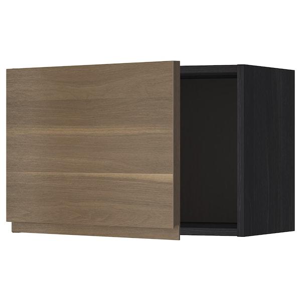 METOD Wall cabinet, black/Voxtorp walnut effect, 60x40 cm