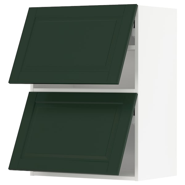 METOD Wall cabinet horizontal w 2 doors, white/Bodbyn dark green, 60x80 cm
