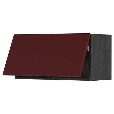 METOD Wall cabinet horizontal w push-open, black Kallarp/high-gloss dark red-brown, 80x40 cm