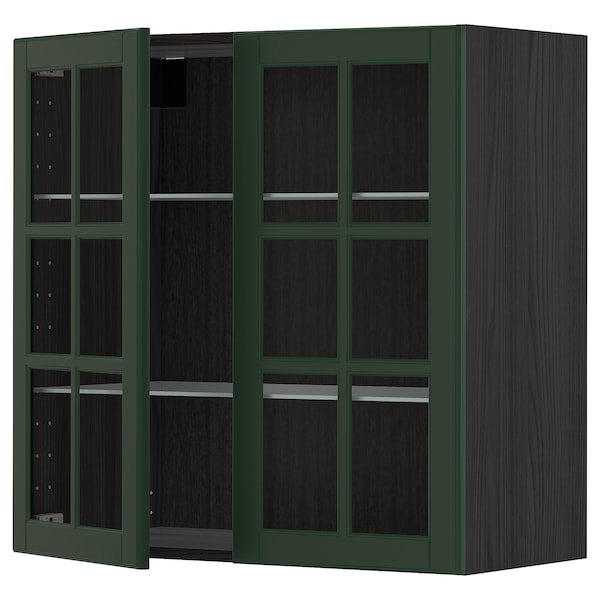 METOD Wall cabinet w shelves/2 glass drs, black/Bodbyn dark green, 80x80 cm