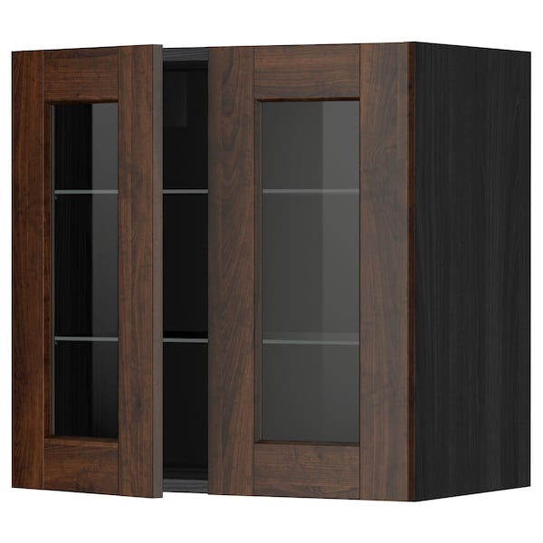 METOD wall cabinet w shelves/2 glass drs black/Edserum brown 60.0 cm 38.8 cm 60.0 cm