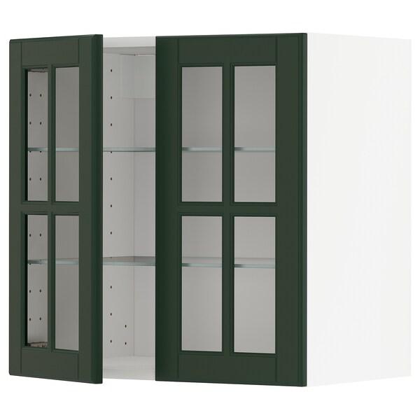 METOD خزانة حائط مع أرفف/بابين زجاجية, أبيض/Bodbyn أخضر غامق, 60x60 سم