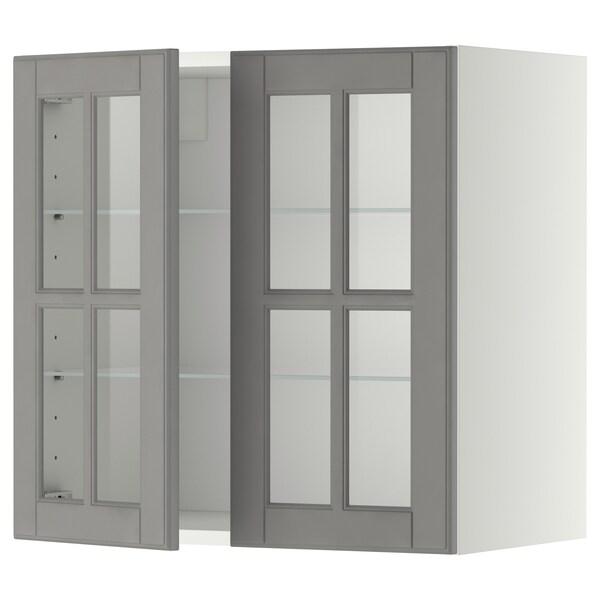 METOD خزانة حائط مع أرفف/بابين زجاجية, أبيض/Bodbyn رمادي, 60x60 سم
