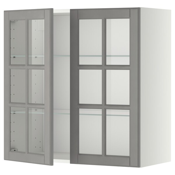 METOD wall cabinet w shelves/2 glass drs white/Bodbyn grey 80.0 cm 38.9 cm 80.0 cm