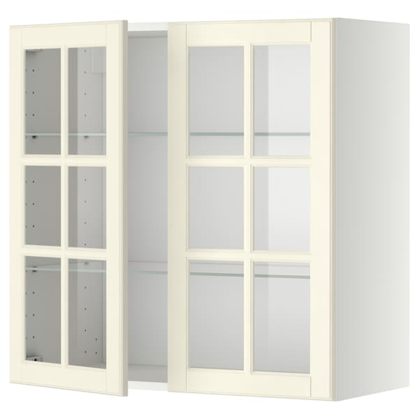 METOD wall cabinet w shelves/2 glass drs white/Bodbyn off-white 80.0 cm 38.9 cm 80.0 cm