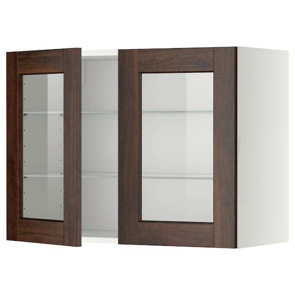 METOD Wall cabinet w shelves/2 glass drs, white/Edserum brown, 80x60 cm