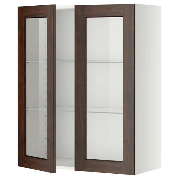 METOD Wall cabinet w shelves/2 glass drs, white/Edserum brown, 80x100 cm