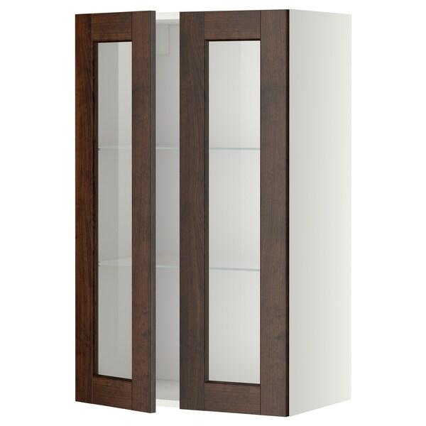 METOD Wall cabinet w shelves/2 glass drs, white/Edserum brown, 60x100 cm