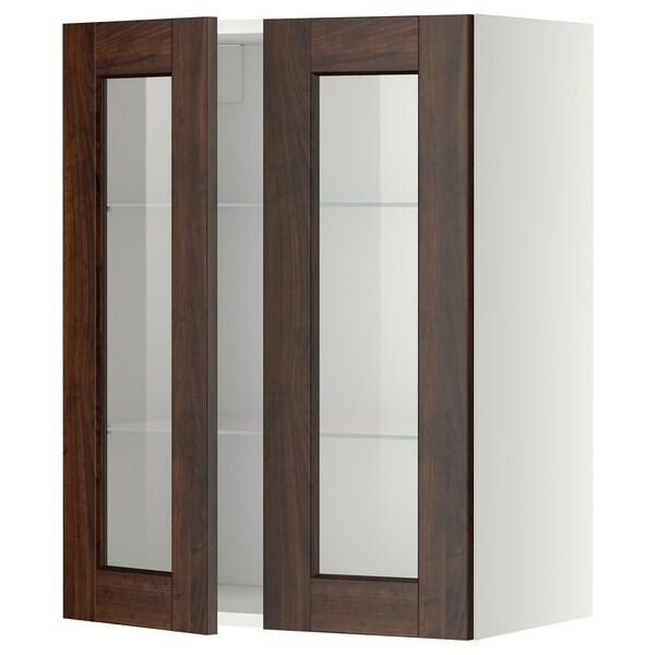 METOD wall cabinet w shelves/2 glass drs white/Edserum brown 60.0 cm 38.8 cm 80.0 cm