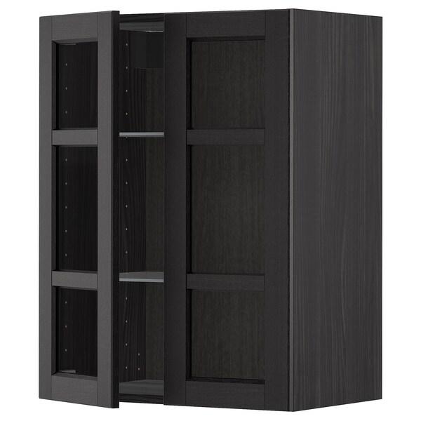 METOD wall cabinet w shelves/2 glass drs black/Lerhyttan black stained 60.0 cm 38.9 cm 80.0 cm