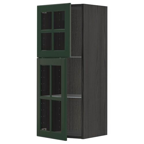 METOD wall cabinet w shelves/2 glass drs black/Bodbyn dark green 40.0 cm 38.9 cm 100.0 cm