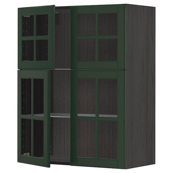 METOD Wall cabinet w shelves/4 glass drs, black/Bodbyn dark green, 80x100 cm