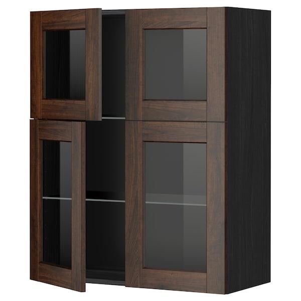 METOD Wall cabinet w shelves/4 glass drs, black/Edserum brown, 80x100 cm