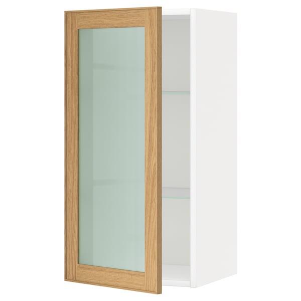 METOD Wall cabinet w shelves/glass door, white/Ekestad oak, 40x80 cm
