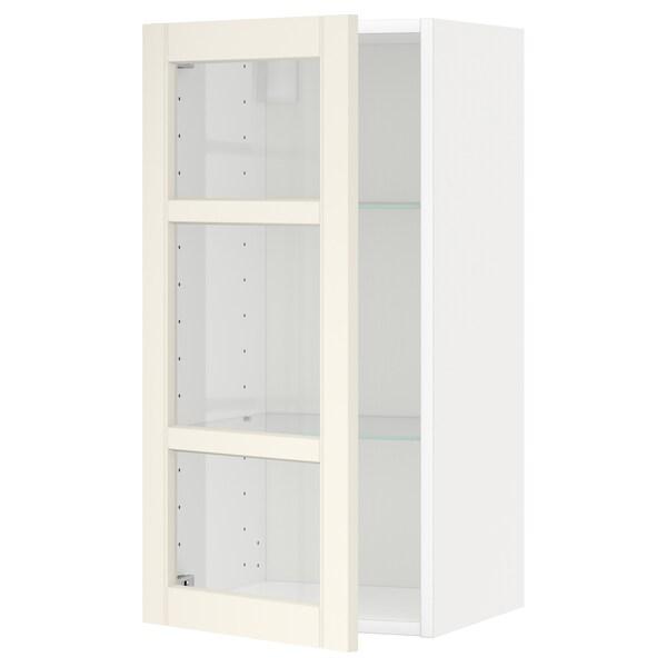 METOD Wall cabinet w shelves/glass door, white/Hittarp off-white, 40x80 cm