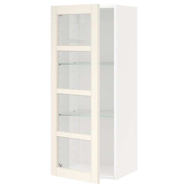 METOD wall cabinet w shelves/glass door white/Hittarp off-white 40.0 cm 38.8 cm 100.0 cm