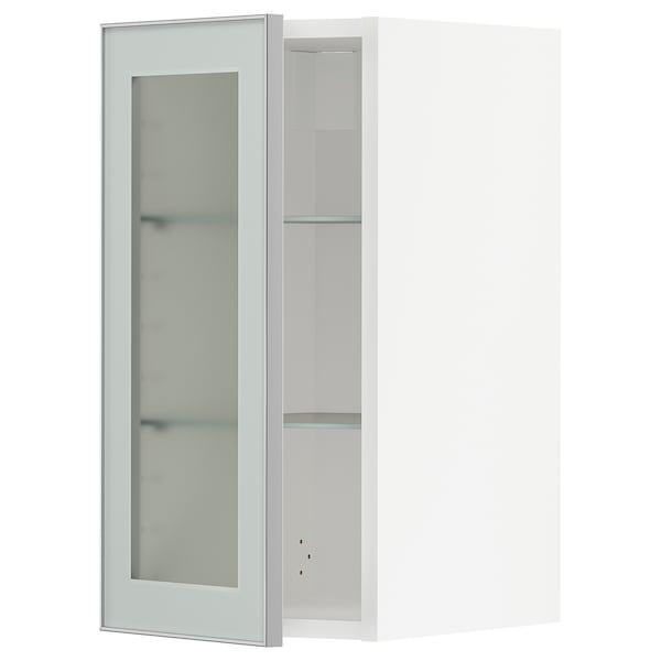 METOD wall cabinet w shelves/glass door white/Jutis frosted glass 30.0 cm 38.8 cm 60.0 cm