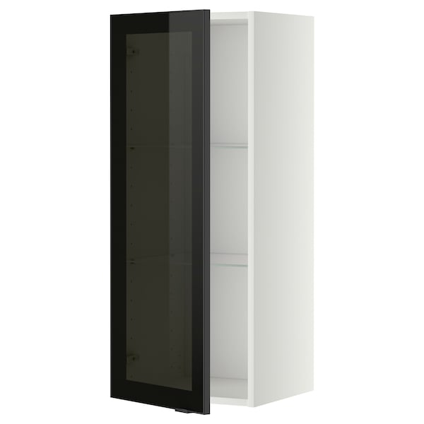 METOD wall cabinet w shelves/glass door white/Jutis smoked glass 40.0 cm 38.8 cm 100.0 cm